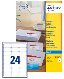 AVERY Etiquette d'adresse jet d'encre, 63,5 x 46,6 mm, blanc