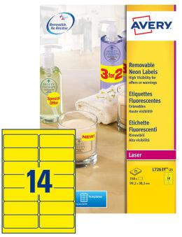 AVERY Etiquette fluorescente, 99,1 x 38,1 mm, jaune fluo