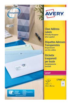 AVERY Etiquette d'adresse, 63,5 x 38,1 mm, transparent