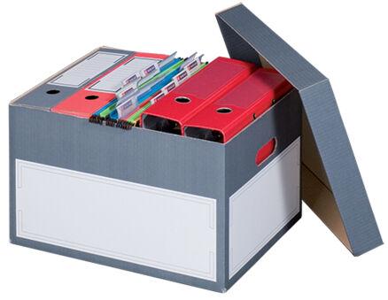 smartboxpro Boîte d'archives/transport L, à couvercle, gris