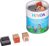 HEYDA Kit de tampons à motif 'chevaux & ferme', boîte ronde