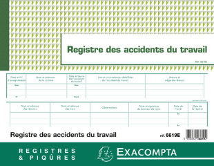 EXACOMPTA Registre des accidents du travail