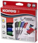 Kores kit de marqueurs pour tableau blanc, 4 marqueurs +