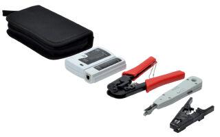 DIGITUS Kit d'outils réseau, sac de transport inclus