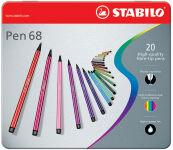 STABILO Feutre Pen 68, étui métallique de 50
