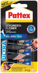 Pattex Colle instantanée Ultra Gel Mini Trio, 3 tube de 1 g