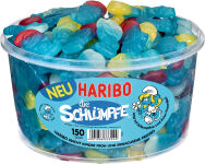 HARIBO bonbons gélifiés LES SCHTROUMPFS, boîte ronde de 150