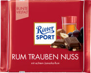 Ritter SPORT tablette de chocolat RHUM RAISIN NOISETTE, 100