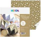 HEYDA Papier pour le pliage, origami 'cristal', blanc/or
