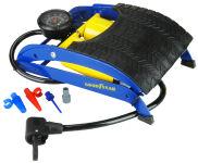 GOODYEAR Pompe à pied deux cylindres, bleu/jaune