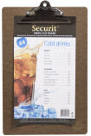 Securit Protège-menus à pince, A4, marron
