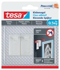 Clou adhésif Powerstrips pour papier peint et plâtre 0,5kg - Tesa