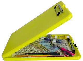 SAUNDERS Porte-bloc à pince 'SlimMate Safety', jaune fluo