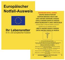 RNK Carte sanitaire européenne d'urgence, 105 x 75 mm, dans