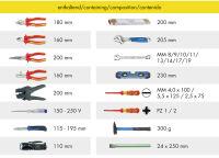 HEYTEC Sac à dos d'outils 'électricien', équipé, 26 pièces