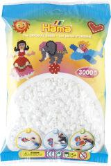 Hama Perles à repasser midi, sachet, 3000 pièces, blanc