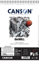 CANSON Bloc papier dessin spiralé 'The WALL', A4, 200 g/m2