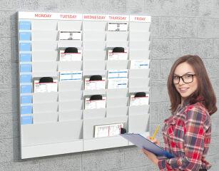 PAPERFLOW Planificateur de bureau mural, 20 casiers, A4