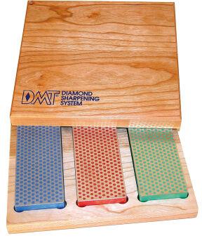 DMT Kit de pierres à aiguiser diamant, boîte en bois, 3 pcs