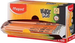 Maped Crayon BLACK'PEPS, avec gomme, boîte présentoir de 100