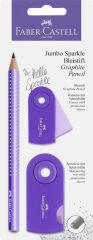 FABER-CASTELL Kit d'écriture Jumbo GRIP SPARKLE Pearl, lilas