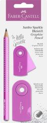 FABER-CASTELL Kit d'écriture Jumbo GRIP SPARKLE Pearl, rose
