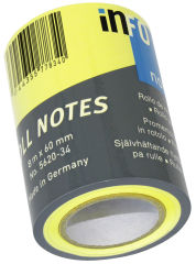 inFO notes Note repositionnable Roll Notes, 1 rouleau, jaune