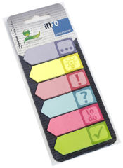 inFO notes Marque-page papier ICONS, 18 x 55, assorti