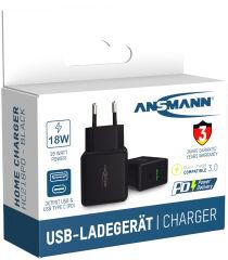 ANSMANN Chargeur USB Home Charger HC218PD, 2x port USB, noir